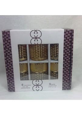 6 verres à thé Italia design motifs doré