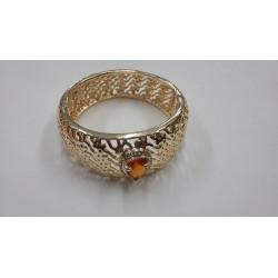 Bracelet Jonc plaque et Or avec Émeraude